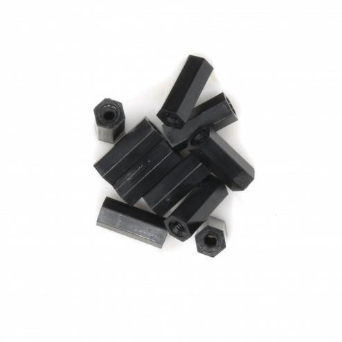 Nylon Abstandshalter Standoffs Spacer 10 mm M2 - schwarz (10 Stück)