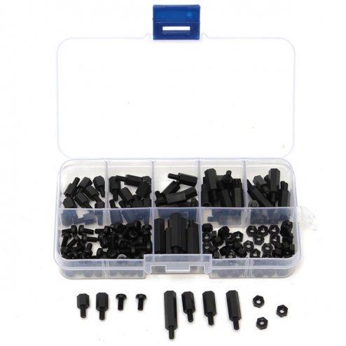 Nylon M3 Abstandshalter, Schrauben Muttern Set - schwarz 180 Stück