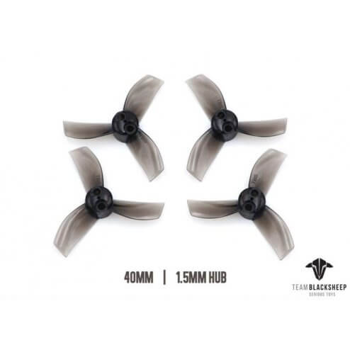 TBS Micro Brushless Props 3 Blade 40mm (Black) (1.5mm Hub)