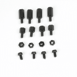 Nylon Abstandshalter, Schrauben Muttern Spacer Set M3 - schwarz 16 Stück